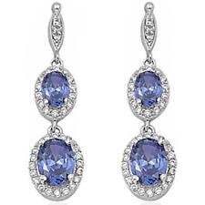 Tanzanite & Cz .925 Sterling Silver Dangle Earrings