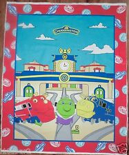 TRAIN FABRIC PANEL baby QUILT TOP WALLHANGING COLORFUL CHUGGINGTON  fabric NEW!