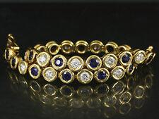 Wertvolles Brillant Saphir Tennis Armband ca. 6,40ct  28g 750/- Gelbgold
