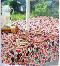 "Red & Purple flowers Umbrella Tablecloth w/ zipper for pole 52 x 70"" vinyl/flanl"