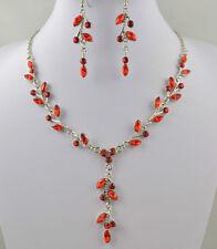 Plata tono rojo gota De Cristal Collar Y Aretes