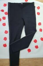 New Zara Black Ponte Thick Leggings Trousers  Smart Beaded Details L Large