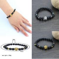New Fashion 8MM Men's Black Lava Stone Head Lion Elastic Beaded Charm Bracelet