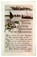 Antique RPPC real photograph postcard card Loving Birthday Greetings Daughter