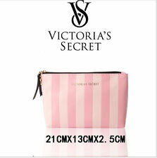 FOR Victoria's Secret Pouch Pink White Iconic Stripes Black Logo Mini Makeup Bag
