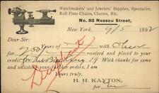 New York City Nassau St. Jewelry Watches Turning Machinery Postal Card 1892