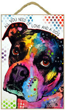 """All You Need is Love and a Dog Boxer Sign 7"""" x 10.5"""" plaque Dean Russo"""