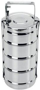 Tiffin - Lunch Box | Brotbox | Snackbox aus Edelstahl mit 4 Behälter (12,5x26cm)