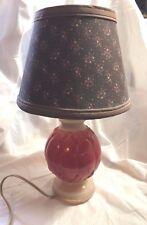 Vintage Aladdin Rust and Beige Milk Glass Lamp Cloth Petite Fleur Shade