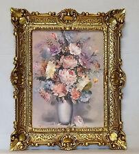 Wunderschönes Gemälde Bilder Barock Antik Repro Rahmen Blumen Vase 56x46 cm NEU