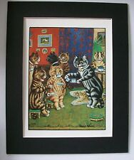 Cat Print Louis Wain Tea Room Afternoon Tea Colored Bookplate 1983 8x10 Matted