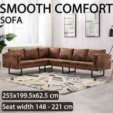 vidaXL Corner Sofa Faux Suede Leather Brown Living Room Furniture Lounge Set