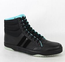 New Gucci Men's Black Leather Hi-top Sneakers 8.5G/US 9 368517 1000