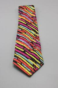 BRIONI Silk Tie. Colorful Vibrant Stripes. As Is Pulls.