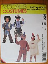 Sewing Pattern McCall 2851 Kid Cowboy Cowgirl Indian Halloween Costume 7-8 Uncut