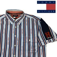 VTG Tommy Hilfiger Retro Short Striped Sleeve Button-Up Shirt Y2K All Over Print
