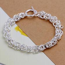 """925Sterling Silver Dragon Head T-O Clasp Men Women Bracelet Chain 8"""" HY033"""