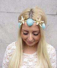 Mint Green Gold Real Starfish Sea Shell Headband Hair Crown Mermaid Costume 2486