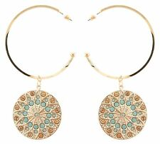 Zest Swarovski Crystal Golden Disk Hoop Earrings for Pierced Ears Blue and Amber