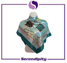 """Blue Long and Soft """"Gentle Breeze""""Pure Silk Scarve/Shawl- Blue"""