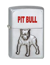 More details for personalised brushed chrome 3d pitbull zippo flint cigarette lighter, engraved