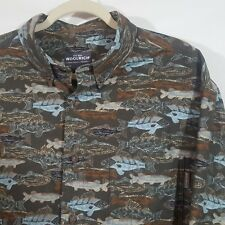Men's Woolrich Fish Fishing Themed Shirt Green Camouflage Outdoors Cotton - XL