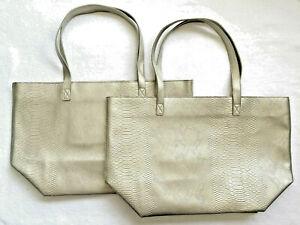 Lot 2 Large TOTE Silver Gray PVC Snake Skin Print Zip Bath & Body Works 21 x 13