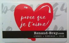 RENAUD-BRAY Limited Ed JE t'aime Gift Card New No Value *french*RECHARGEABLE*