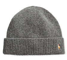$96 POLO RALPH LAUREN Men GRAY CUFFED WOOL HAT PONY CAP WINTER BEANIE ONE SIZE