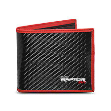 Ford F-150 Raptor Real Premium Black Carbon Fiber Wallet with Red Stitched Edge