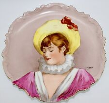 C et J Limoges Hand-Painted Parisian Lady Plate Signed T. Terrier