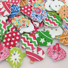 New 100pc Merry Christmas Wood Buttons Sewing Mix Lots 25*24mm WB181