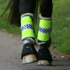 Equisafety POLITE Hi Viz Leg Boots Wraps - Fluorescent Yellow - Horse Pony