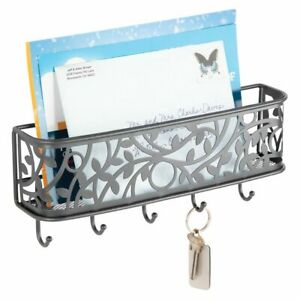 mDesign Metal Wall Mount Entryway Storage, Mail Sorter Basket - Graphite Gray