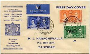 KUT 1937 CORONATION ILLUSTRATED FDC ZANZIBAR KARACHIWALLA COVER TANGANYIKA