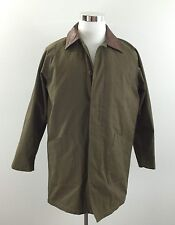 Mens Canvas Barn Coat Field Jacket With Leather Collar Quilted Liner Sz S Small