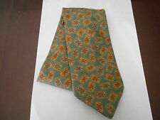 Mens Marks & Spencer Silk Tie Sage Green with Gold Pattern