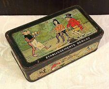 Vintage Debray French Biscuit Tin Box Comical Monkey Theme c 1920s Cafe Scene
