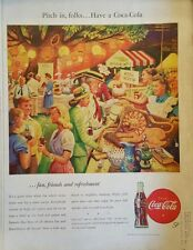 1946 Coca-Cola soda glass bottles town lawn social menu wishing well booths ad