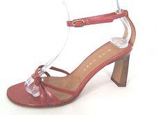 "NINE WEST Shoes Rust Orange Leather Ankle Strap 3"" Heels Sandals Womens Sz 6.5 M"