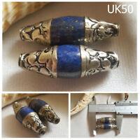 Lot 2 RARE Antique Tibetan Lapis Bicone Dorje SILVER Cap Beads #UK50