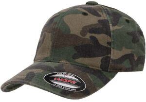FLEXFIT Classic Camouflage Fitted 6-Panel Washed Cotton CAMO Cap Baseball Hat