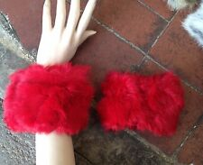 one pair of bright red real genuine rabbit fur cuffs satin lining button holes