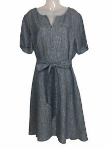 Jacqui E 18 dress linen belted bow fit flare short sleeve knee length blue white