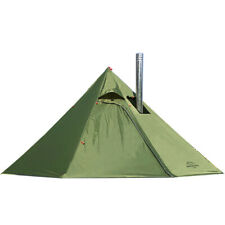 Preself 3 Person Lightweight Tipi Hot Tent With Fire Retardant Flue Pipes Olive