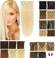 Extensions A Clips Cheveux Remy Lisses Naturel 60cm 49cm 85g 125g express 24/48H