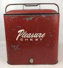 Vintage Retro Red Metal Pleasure Chest Cooler Ice Chest Box W/ Cap & Tray 50's