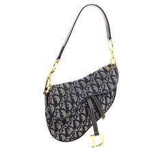 Christian Dior Trotter Saddle Mini Hand Bag Purse Navy Canvas Leather AK31422b