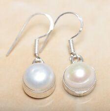 """Elegant Handmade Freshwater Pearl 925 Sterling Silver 1.25"""" Earrings #E00279"""