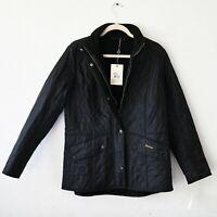 Women's BARBOUR Cavalry Polarquilt Jacket Quilted Black Fleece size UK 18 EUR 44